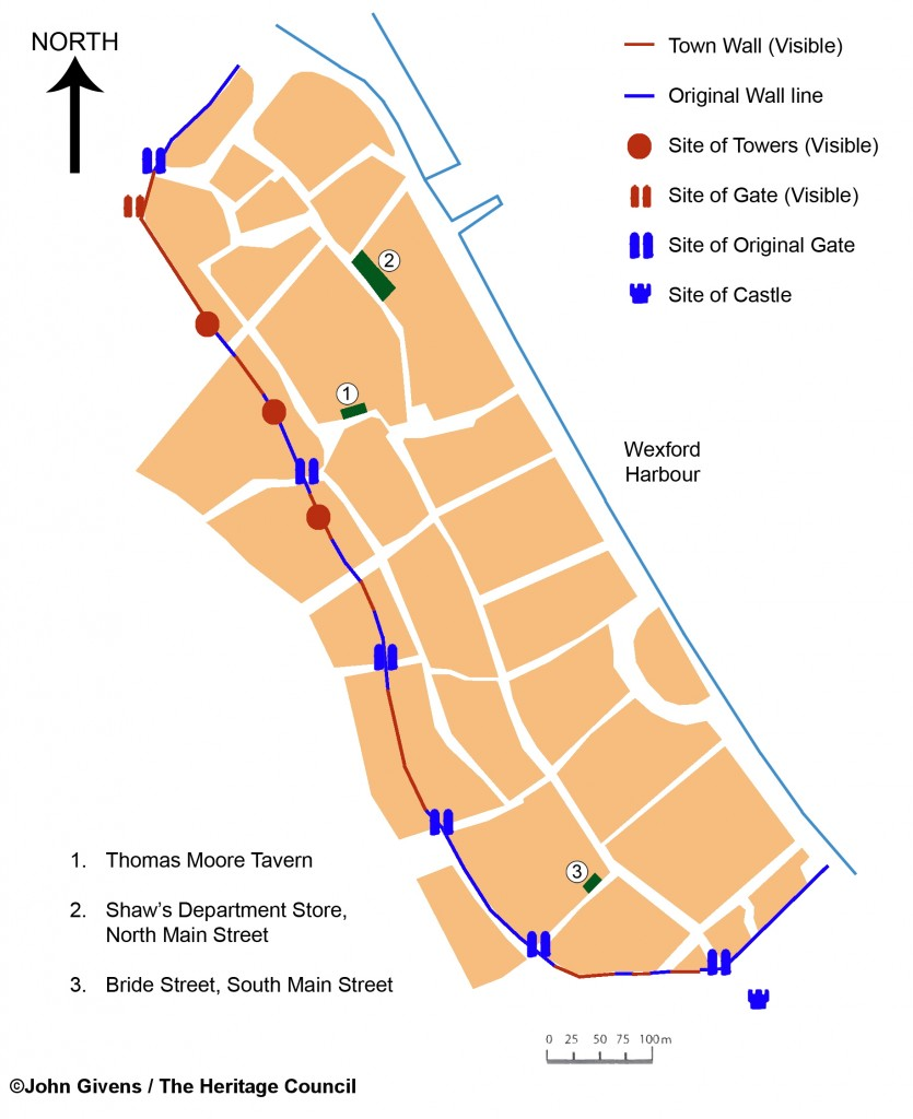 Map of Wexford Town showing the Medieval house sites