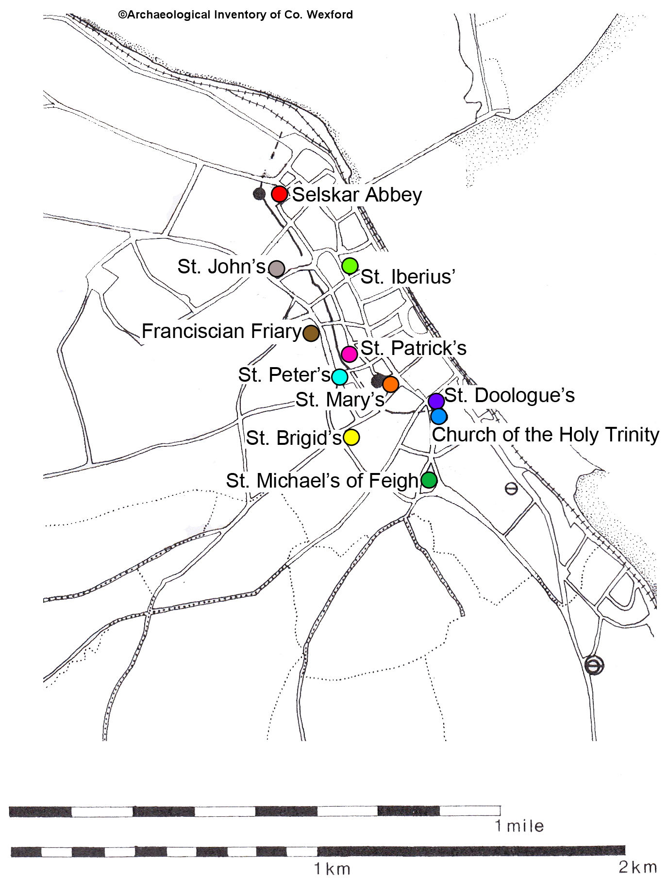 Location of the churches of the walled town