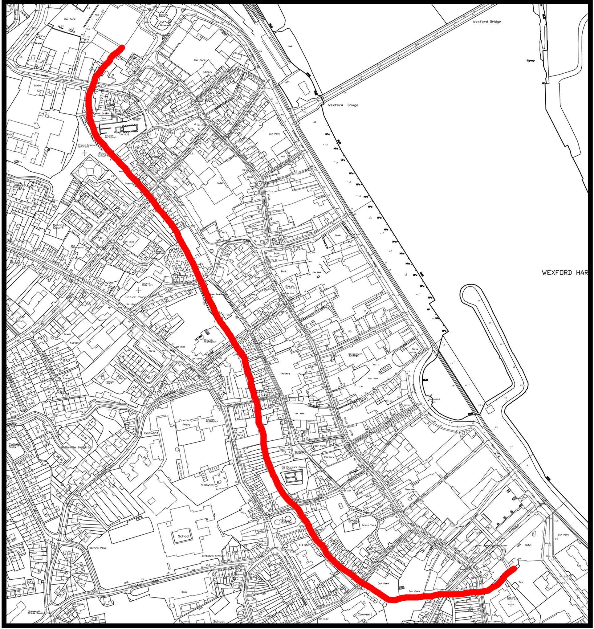 Ordance Survey Map of Wexford Town showing line of town wall